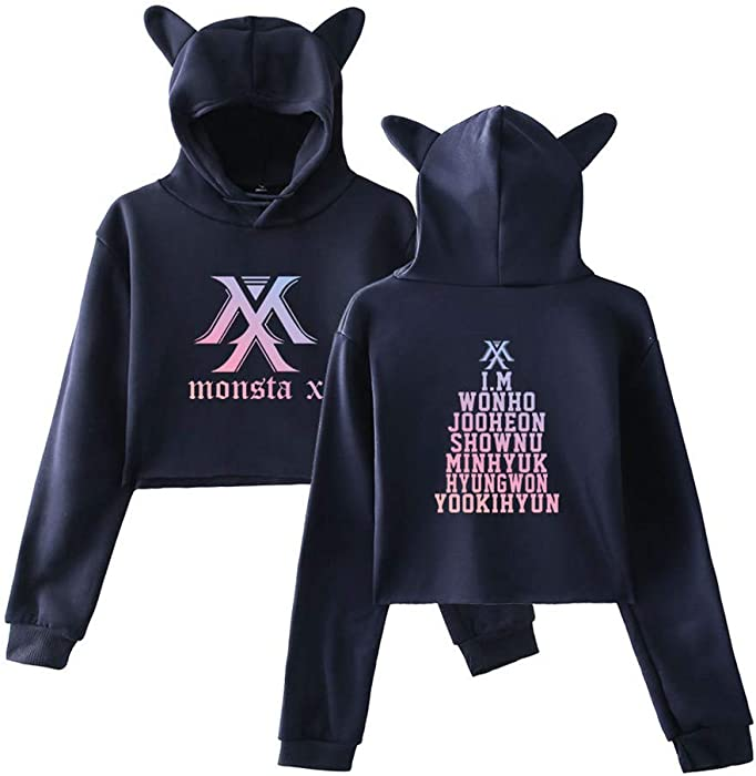 Monsta X Mujeres Sudaderas con Capucha Ocasionales Cropped Sweater Tendencia Suéter Cute Jerseys Estampados Sweatshirts Bonita