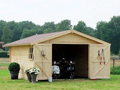 GartenPro 3054 - Caseta garaje para coches, de madera de abeto natural: Amazon.es: Jardín