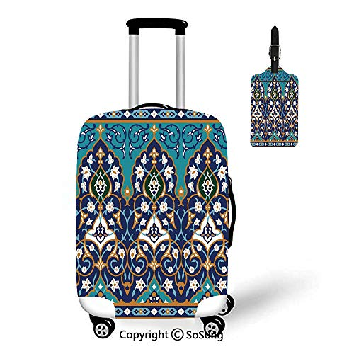 Moroccan 3D Printed Luggage Cover & Luggage Tag,Fit for 18-22