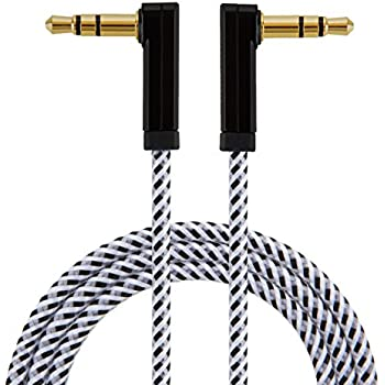 CableCreation 6 Feet Angle 3.5mm Male to Male Stereo Audio Cable, Slim and Soft Cable with Braided, for Smartphones, Tablets, MP3 Player and More, ...