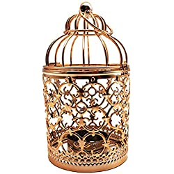HuYaYa Decorative Candle Lanterns,Vintage Style Tealight Candle Holders Metal Hanging Lantern for Outdoor or Indoor Table Top Wedding Party Accessories,5.5 inch Height,Fine Plated Rose Gold