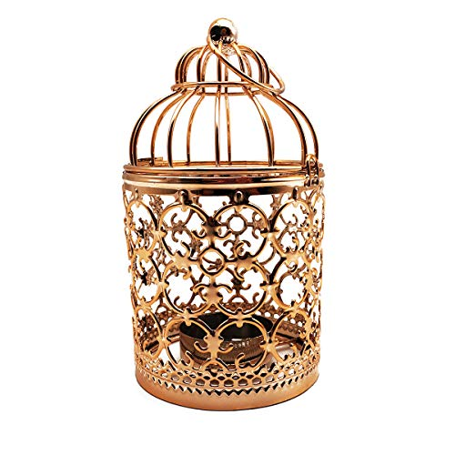 - HuYaYa Decorative Candle Lanterns,Vintage Style Tealight Candle Holders Metal Hanging Lantern for Outdoor or Indoor Table Top Wedding Party Accessories,5.5 inch Height,Fine Plated Rose Gold