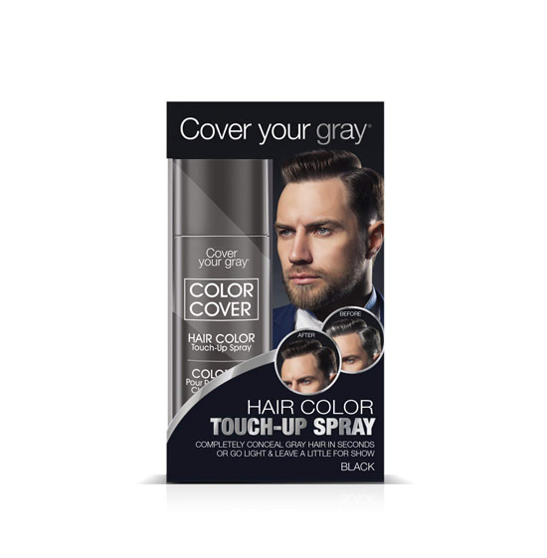 Cover Your Gray for Men Color Cover Hair Color Touchup Spray - Black
