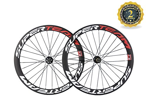 Superteam Carbon Road Bike Wheelset 50mm 700c Clincher Wheel with Disc Brake - Rim Disc Clincher
