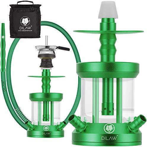 DILAW® Turtle Shisha Aluminium 22cm Hookah to Go 4 Anschlüsse mit Tasche | Wasserpfeife | Kaminkopf | Komplettset…