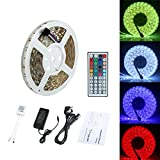 ECOLUX Waterproof 5M 5050 300 Led SMD RGB Led Strips Lighting Full Kit with 44 Key IR Remote Controller for Home Kitchen Cabinet TV Lighting Decora