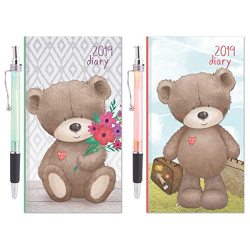 The Home Fusion Company Slim Diary 2019 Week To View Glitter Teddy Bear Diaries & A Pen Gift Present