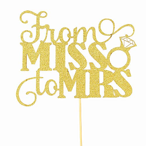 Gold Glitter From Miss to Mrs Cake Toppe - Bride To Be - Future Mrs Cake Topper - Bridal Shower Bachelorette Party -