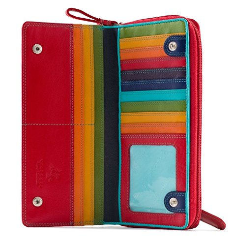 Visconti Spectrum 35 Multi Color Ladies Soft Leather Checkbook Wallet And Purse 7.5' x 3.5' x 1' (Red Multi)