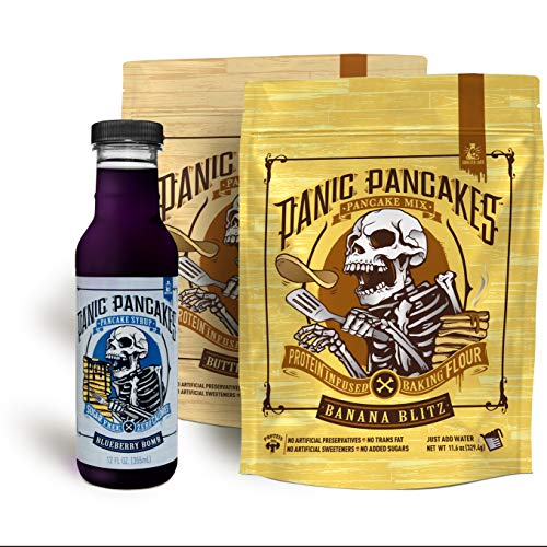 Panic Pancakes Mix & Syrup by Sinister Labs - Pancake Mix 2-Pack Variety (11.5 ounce bag), Blueberry Bomb Syrup, 1 bottle (12 ounce)