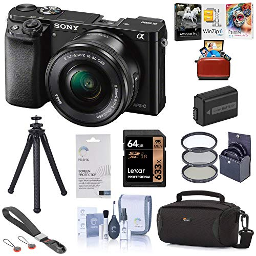 Sony Alpha a6000 Mirrorless Digital Camera 24.3MP (Black) with 16-50mm Lens (ILCE6000L/B), Bundle with Bag, Battery, Mac Software, Filter Kit, UFO 2 Tripod, 64GB SD Card, Wrist Strap and Accessories