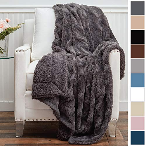 - The Connecticut Home Company Luxury Faux Fur with Sherpa Reversible Throw Blanket, Super Soft, Large Wrinkle Resistant Blankets, Warm Hypoallergenic Machine Washable Couch/Bed Throws, 65x50 (Gray)
