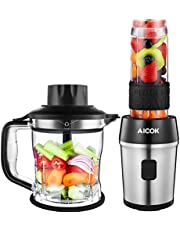 Aicok Blender Smoothie Maker, Active 700W Personal Blender with Kitchen Food Processor, Portable Mini Juicer with Tritan Travel Bottle, 4 Stainless Steel Sharp Blades, Super Leak-Proof Lid, BPA Free