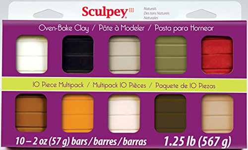 Sculpey Multipack Art Clay III, 10 by 2-Ounce, Natural (Best Type Of Clay To Sculpt With)