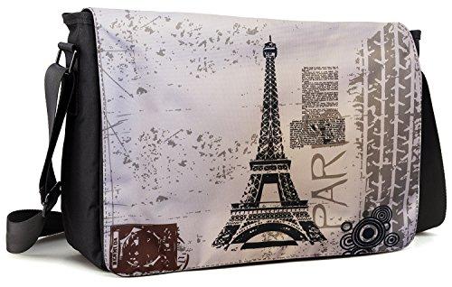 Paris Computer Messenger - Meffort Inc 17 17.3 Inch Laptop / Notebook Padded Compartment Shoulder Messenger Bag with Shoulder Pad - Paris