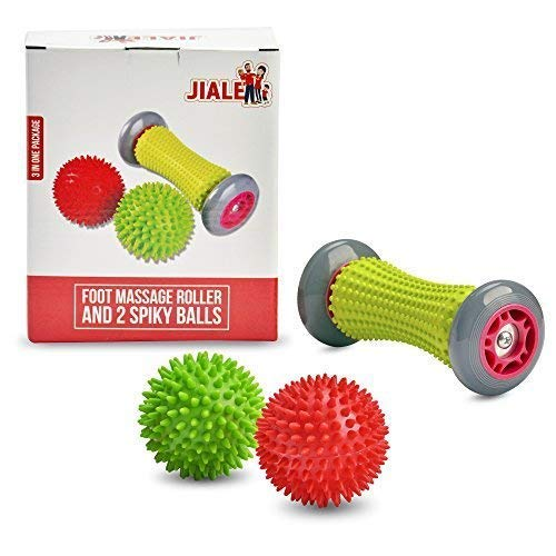 Foot Massage Roller and 2 Spiky Balls - Foot Massager Set - Relieve Plantar Fasciitis, Heel, Foot Arch Pain - Perfect for Inflammation, Tight Muscles and Trigger Point Therapy on the Feet By JIA LE