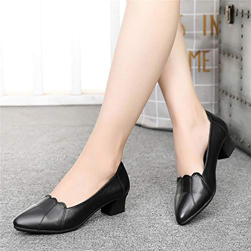 Female Bottom Autumn heels Professional Black High Middle Female Soft Shoes Single Shoes Mother Aged Black Shoes Pu Work With Yukun Comfortable Shoes wApqqO