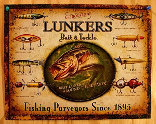 Lunkers Bait and Tackle Tin Sign Outdoors Fly Fishing Lure Rod Reel Bass Pro Metal Wall Signs Hall Garage Poster TIN Sign 7.8X11.8 INCH ()