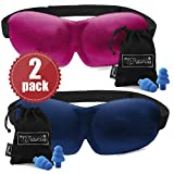 2 PACK - Luxuriously soft 3D SLEEP MASK, pleasant touch, PERFECT MAKE UP without defects and PAIR of HIGH FIDELITY EARPLUGS – give you a blissful SILENCE everywhere (Navy Blue & Pink)