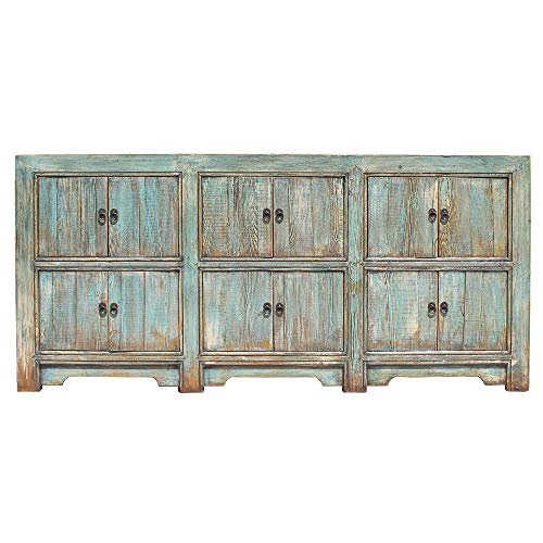(Distressed Rustic Chalk Pastel Blue Sideboard Buffet Table Cabinet Acs5117 )