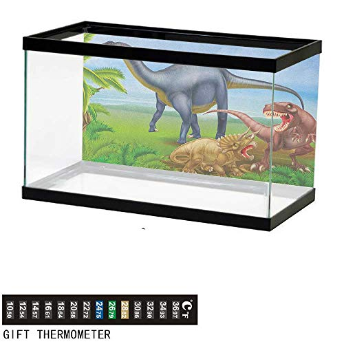 (Jinguizi DinosaurAquarium BackgroundDifferent Types of Dinosaurs Natural Jungle Environment T Rex Triceratops Cartoon36 L X 24