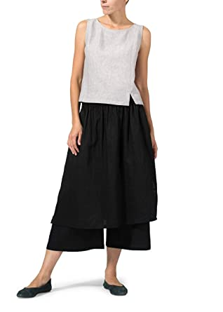 af53521026 Vivid Linen Two Layer Culottes at Amazon Women s Clothing store