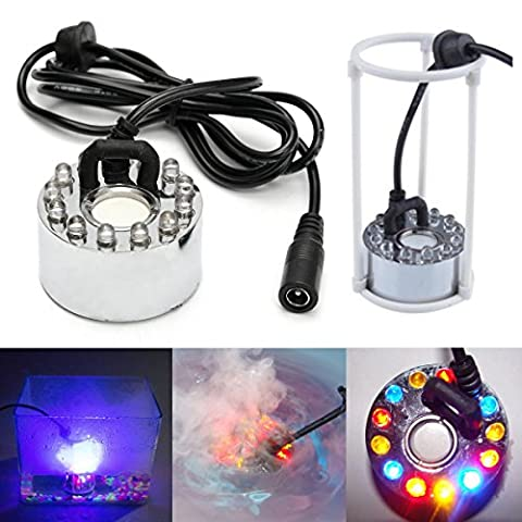 12LED Light Ultrasonic Fountain Mist Maker Indoor Water Pond Fogger Air Atomizer With AC Adapter (Atomizer Fogger)