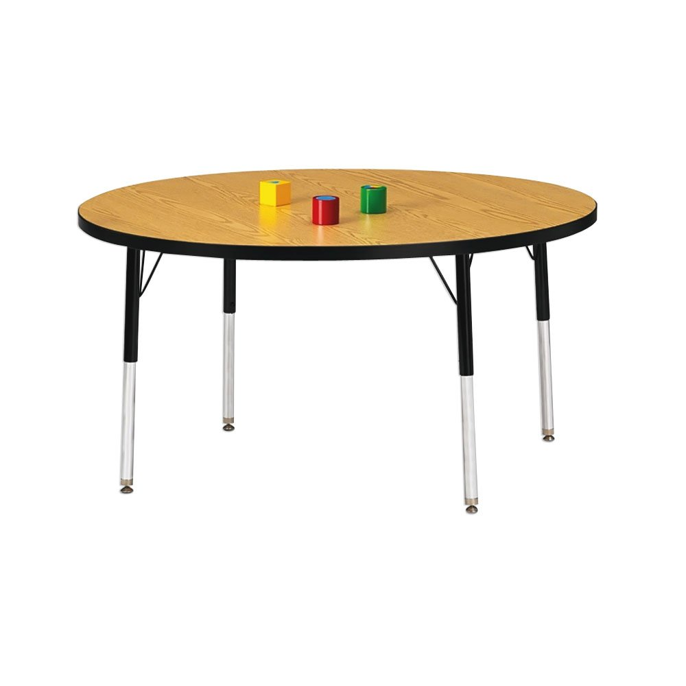11-15 36, 42, 48 Diameters Surface Size: 36 Diameter Color: Oak with Black Ridgeline Band KYDZ Round Activity Table Table Height: Toddler