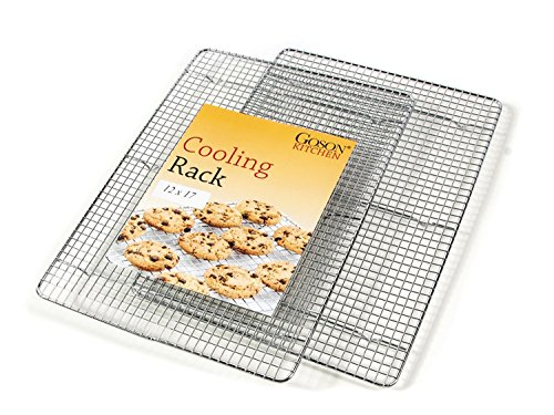 Goson Bakeware Baking, Cooling , Oven Roasting, Broiler Rack, Half Size - 12in x 16.5in, Cross Wire, Pack of 2, Compatible with Various Baking Sheets Oven - Half Cross