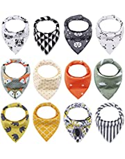 iZiv 12-Pack Baby Bandana Drool Bibs for Drooling and Teething, Organic Cotton, Soft and Absorbent Bibs for Baby Boys Girls - Baby Shower Set