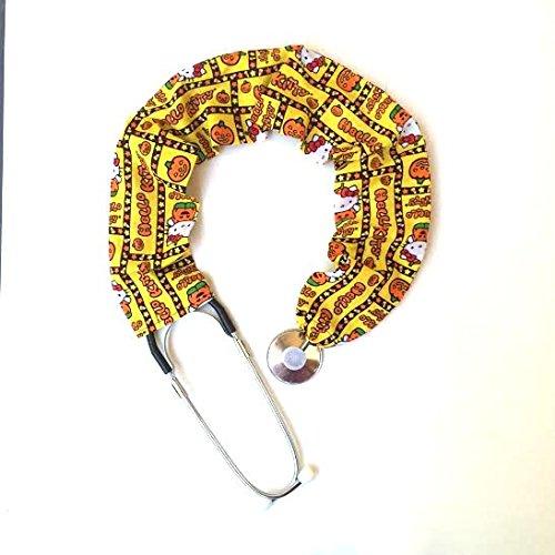 Stethoscope Covers Handmade Variety Patterns Colors 100% Cotton Scrunchie (Yellow Range Halloween Hello Kitty)