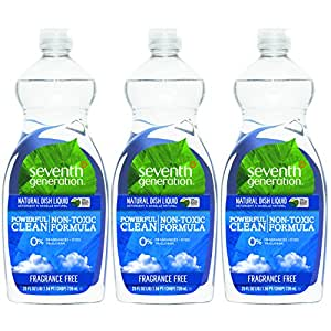 Seventh Generation Natural Dish Liquid, Fragrance Free, 25 Ounce (Pack of 3)