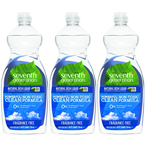 Natural Clear Liquid Dishwashing - Seventh Generation Natural Dish Liquid, Fragrance Free, 25 Fl Oz, (Pack of 3)