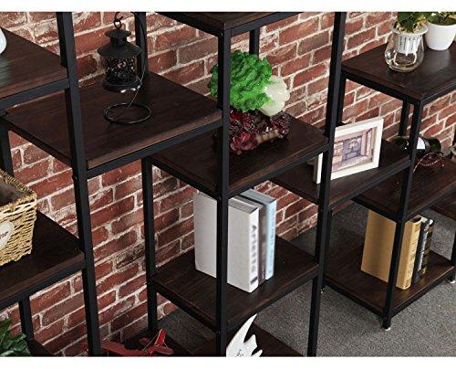 Csq cadre en fer forgé étagère de stockage rack fer noir cadre pine