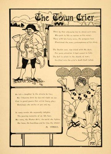 [1898 Lithograph England Town Crier Bell Poem Art Nouveau Yendis Footman Costume - Original Lithograph] (Town Crier Costumes)