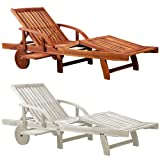 DEUBA GmbH & Co. KG. Wooden Deckchair Sun Lounger Recliner Extendable Tray Acacia Wood Adjustable Inclinable