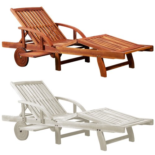 'Tami' Garden Sun lounger bed chair wooden folding recliner relaxer steamer drink tray outdoor garden loungers sunbed acacia hardwood Brown