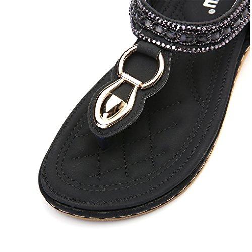 Tongs Toe Minetom Peep Sandales Des Vacances Bohême Diamant Filles Flip Été Noir Femmes Flops Plage Faux Chaussure 1wqrTv1zx