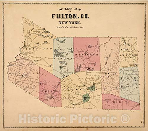 Historic Map | 1868 New York (N.Y.), Outline Map of Fulton Co. New York. | Vintage Wall Décor | 24in x 20in
