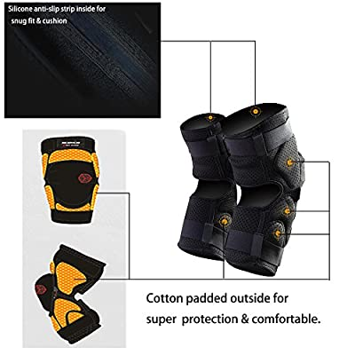 SCOYCO Motorcycle Knee Guards, Lycra Fabric Perforated Ventilate PP Shell Shockproof Breathable Kneepads for Outdoor Sports (BLACK,L): Automotive