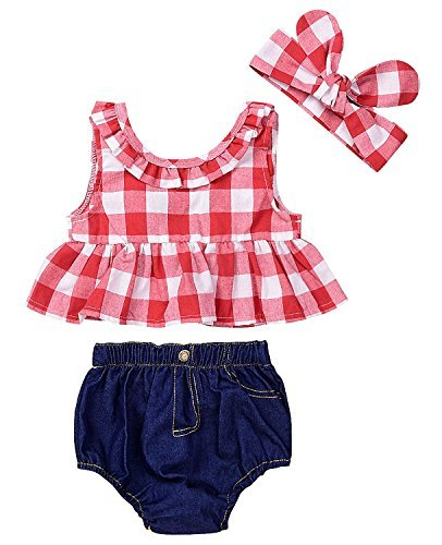 SWNONE 3Pcs Baby Girls Plaid Ruffle Bowknot Tank Top+Denim Shorts +Headband Outfit (Red, 0-6 Months)