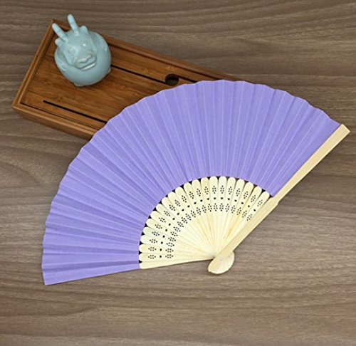 Ligth Purple Mulit Colors Paper Bamboo Folding Hand Fan Decoracion Fiestas Decoration Mariage Abanicos Para Boda by Hand Fan