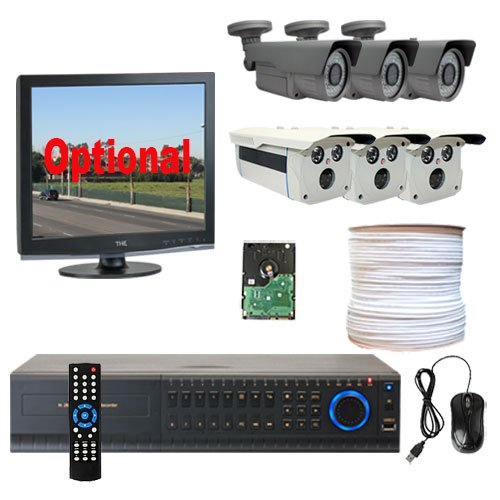 """8 Channel DVR with 6 x Professional 1/3"""" 2.1 Megapixel CMOS Security Camera, Progressive Scan, 1080P Video Output Mode, HD-SDI Video Output Level,Vari-Focal 2.8~12mm Manual Zoom Lens, 2 Array IR Leds"""