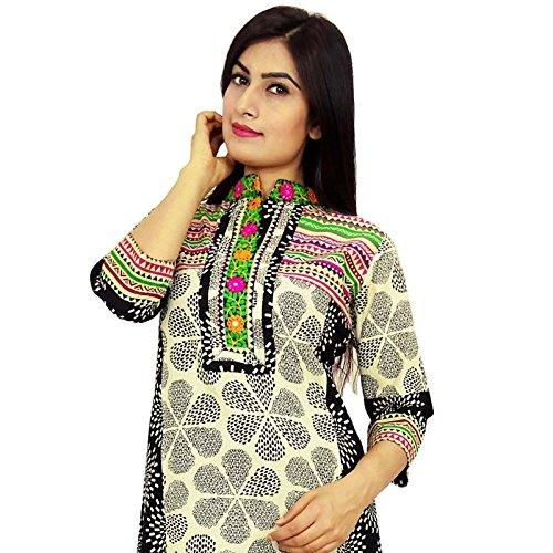 Diseñador indio de Bollywood algodón Rayón Mujeres étnico Kurti vestido de la túnica casual Blanco