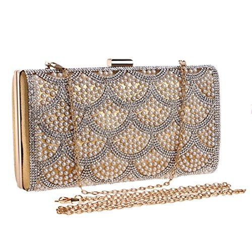 Ladies JESSIEKERVIN Handbag Gold Flowers Clutch Women Evening Banquet Purse Bag Fashion RBqdnB