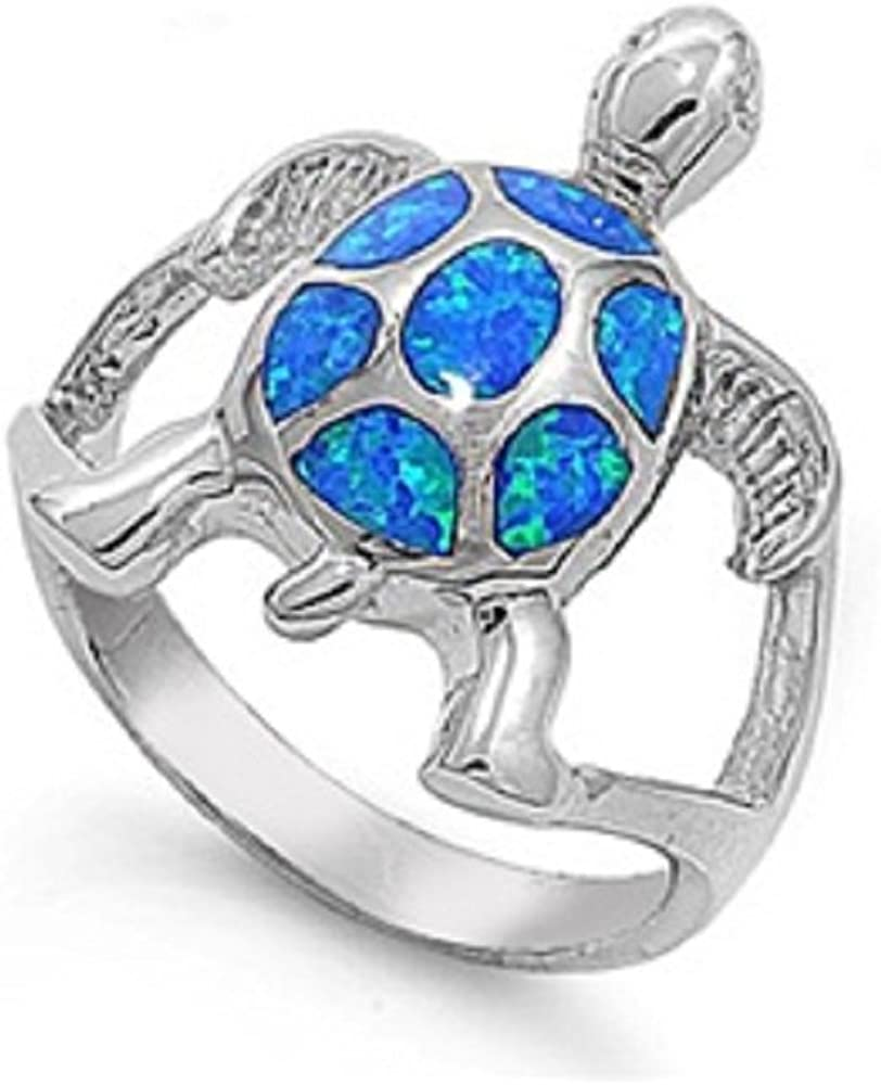 CloseoutWarehouse Turtle Blue Simulated Opal Ring 925 Sterling Silver Size 10