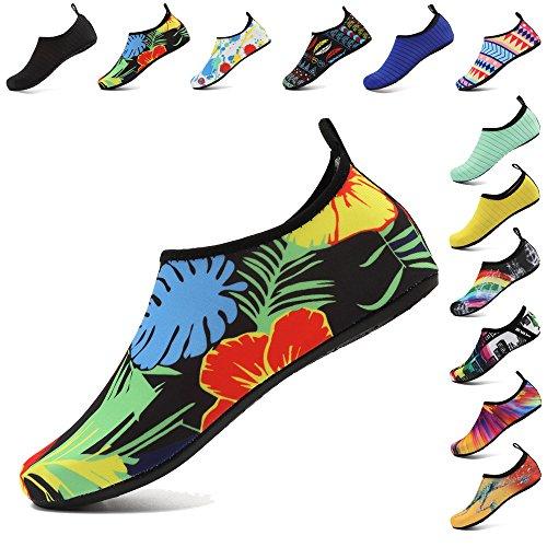 Coolloog Unisex Water Shoes Barefoot Quick-Dry Aqua Yoga Socks Beach Exercise Shoes for Men Women Kids Flower