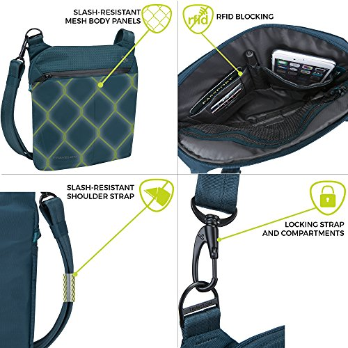 Teal Travelon Small Crossbody Active Anti Black Theft rBqpYwr