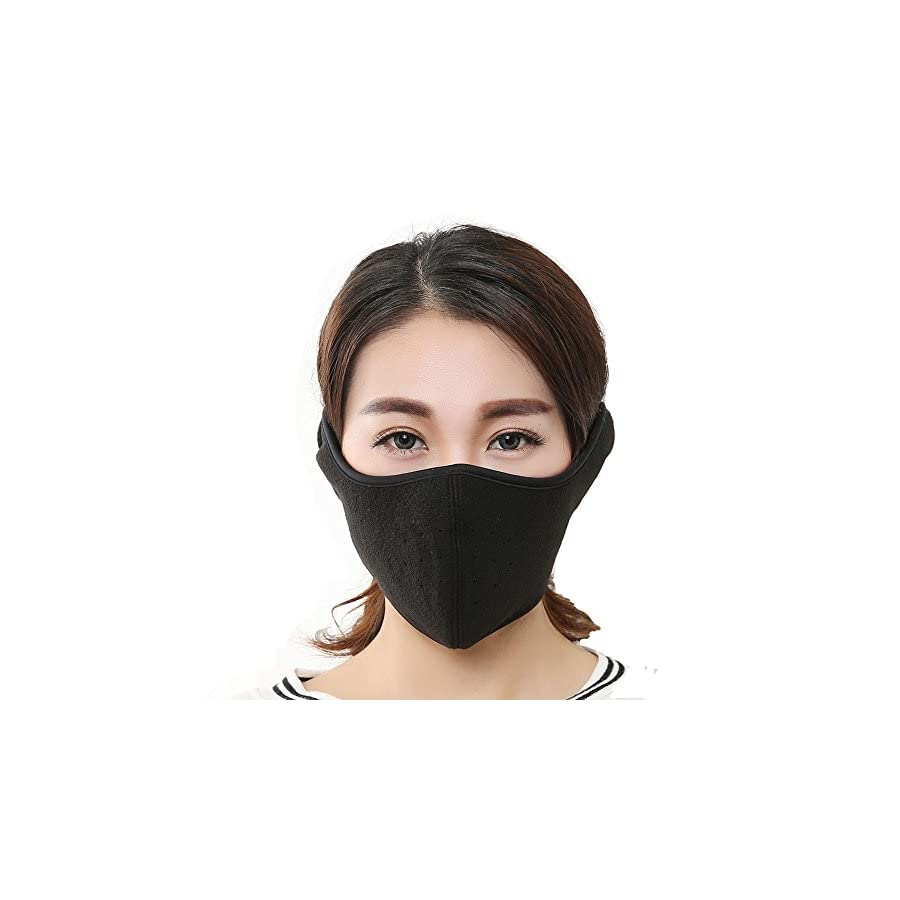 KAPOSEV Men Women Winter Cold Proof Mask Half Face Fleece Warmer Mask Windproof Mouth Mask Built in Breathable Spiracle,Full Ears Protection for Ski Bicycle Motorcycle