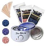 Depilatory Wax Kit, Electric Wax Heater Warmer Hard+10pcs Waxing Spatulas+100g/300g Wax Hot Film Hard Beans Body Bikini Hair Removal (No Strip) (Lavender+Chamomile+Rose)